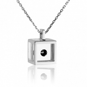 Collar Cubo Plata y Diamante Negro 0.08 ct