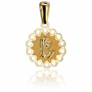 Medalla Virgen orando 9 quilates