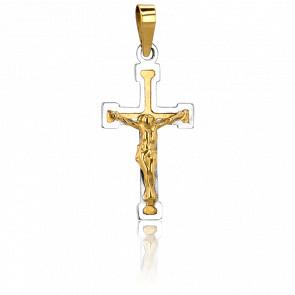 Cruz con Cristo Oro Amarillo y Blanco 9k, 23x12,5mm