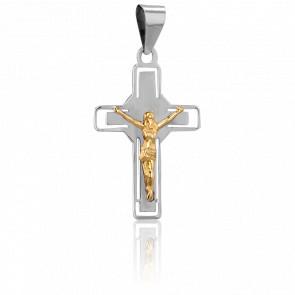Cruz con Cristo Oro Blanco y Amarillo 18k, 23 x 14,5mm