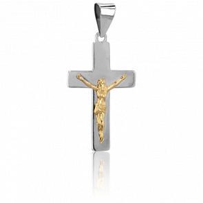Cruz con Cristo Oro Amarillo y Blanco 9k, 22 x 13,30mm