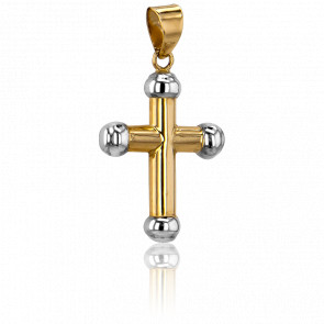 Cruz Oro Amarillo 18k, 21,5 x 16mm, Bolas oro blanco