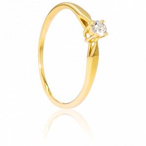 Solitario de oro amarillo y diamante de peso 0,14 quilates