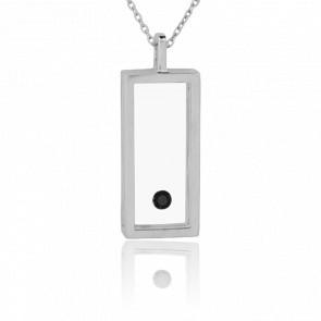 Collar Rectángulo Plata y Diamante Negro 0.08 ct