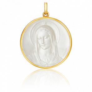 Medalla Virgen Maris Stella Nácar, redonda