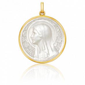 Medalla Virgen de las Rosas Nácar, redonda