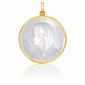 Medalla Virgen Nácar, redonda