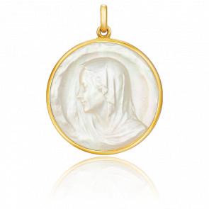 Medalla Virgen Oro Amarillo y Nácar, redonda