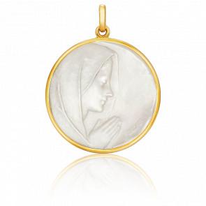 Medalla Virgen Orando Nácar, redonda