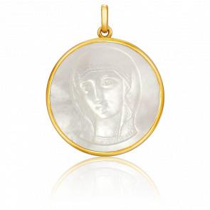 Medalla Virgen Bizantina Nácar Martilleada