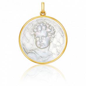 Medalla Niño Redonda de Nácar y oro