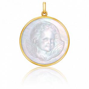 Medalla Ángel nácar y oro