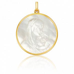 Medalla redonda Madona Nácar