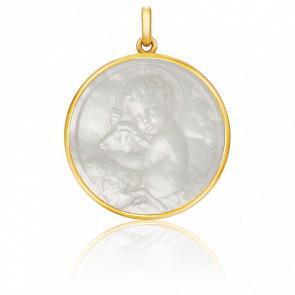 Medalla Niño Jesús Nácar y oro amarillo