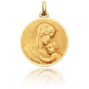 Medalla redonda Madona Oro Amarillo, Contorno Pulido