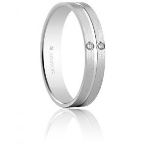 Alianza Lidia Oro Blanco y Diamante 4,00mm