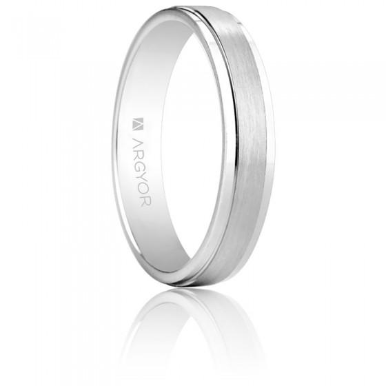 afb6224a1e92 Alianza de boda Argyor de oro blanco cepillado - Ocarat