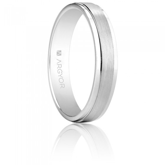 35f74ac6d9ac Alianza de boda Argyor de oro blanco cepillado - Ocarat