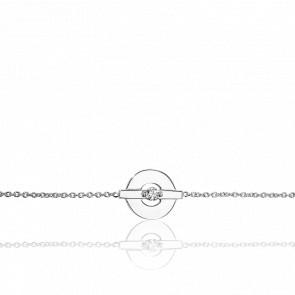 Pulsera Corona Oro Blanco y Diamante