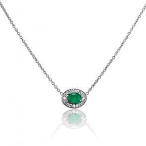Collar Oro Blanco Esmeralda y Diamante