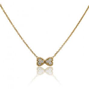 Collar Doble Corazón Oro Amarillo y Diamantes