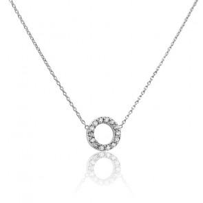 Collar Círculo Ø 7 mm Oro Blanco y Diamantes