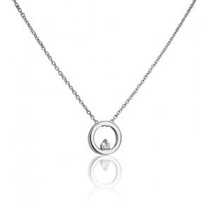 Collar Círculo Ø 8 mm Oro Blanco y Diamante