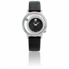 Reloj Venus 33mm Acero cuero  esfera negra , Versace