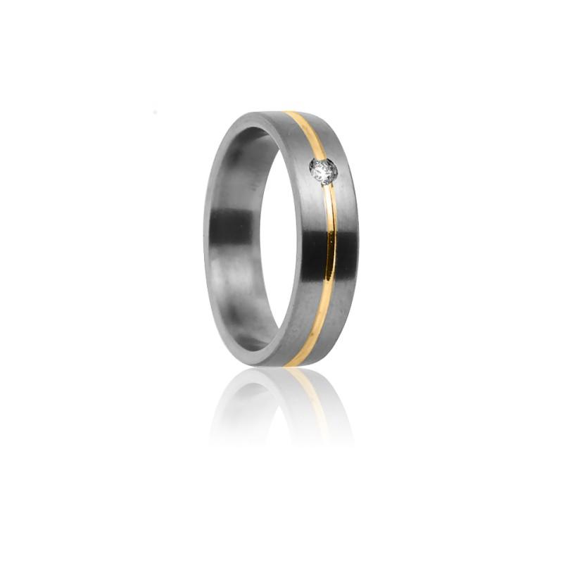 Alianza Cottos 5,0 mm Titanio Oro Amarillo y Diamante