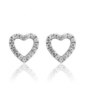 Pendientes corazón Oro Blanco y Diamantes