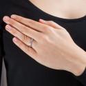 Anillo Oro Blanco y Diamantes, doble banda