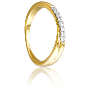 Anillo Oro Amarillo y Diamantes, doble banda