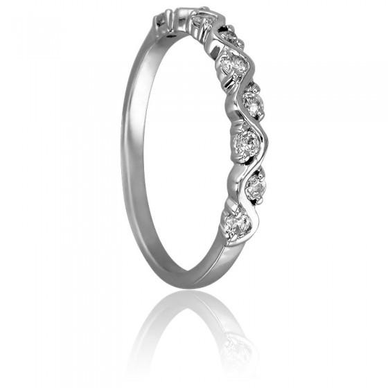 fe03694b2fc5 Anillo de boda Oro Blanco 18k y Diamantes Zigzag - Ocarat