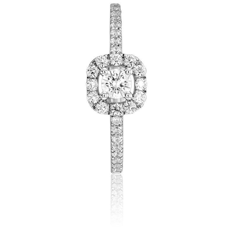 28d79b40424e Anillo Solitario Cuadrado Calado Oro Blanco y Diamantes- - Ocarat