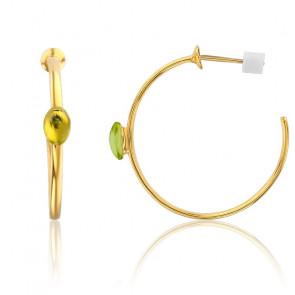 Pendientes Aros Oro amarillo 9k y Peridoto
