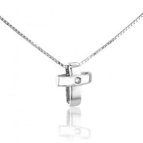 Collar Cruz Oro Blanco 18k y Diamante