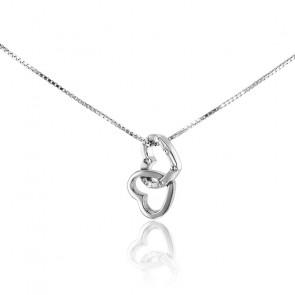 Collar Corazones entrelazados Oro Blanco 9k y Diamantes