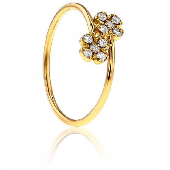 8ed6d840f917 Anillo de Oro Amarillo y Diamantes Doble Flor - Bellon - Ocarat