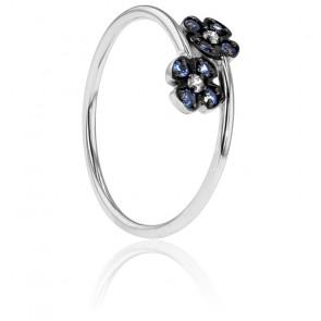 Anillo Doble Flor Azul Oro Blanco Diamantes y Zafiros
