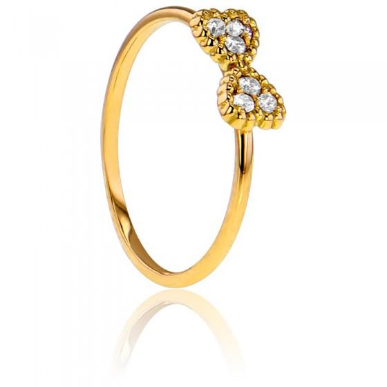 af6589727067 Anillo doble corazón de Oro Amarillo y Diamantes - Ocarat