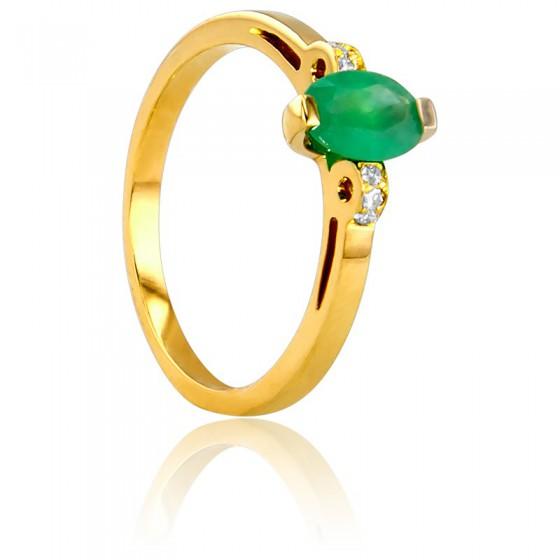 6bc7991154e6 Anillo de compromiso esmeralda y diamantes - Bellon - Ocarat