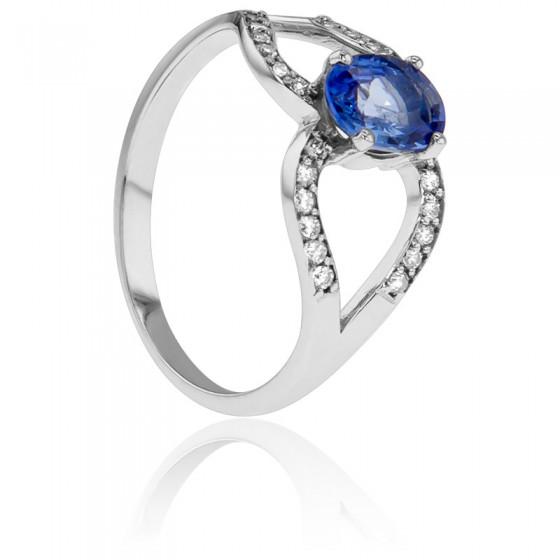 d4d0c904fc38 Anillo de pedida Oro y Diamantes y Zafiro - Belllon - Ocarat