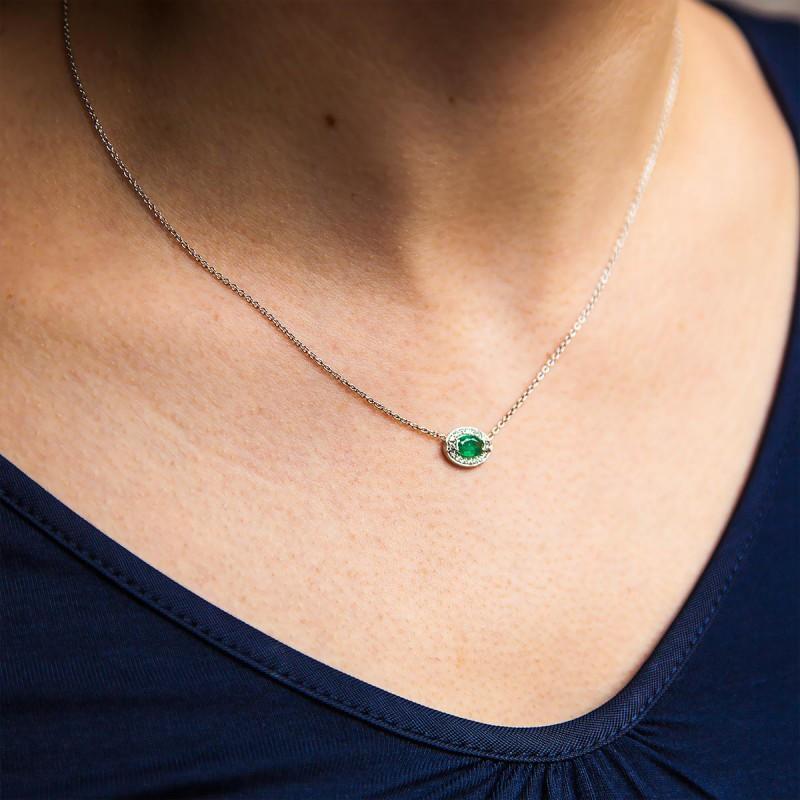 Collar Oro Blanco Esmeralda Y Diamante Ocarat