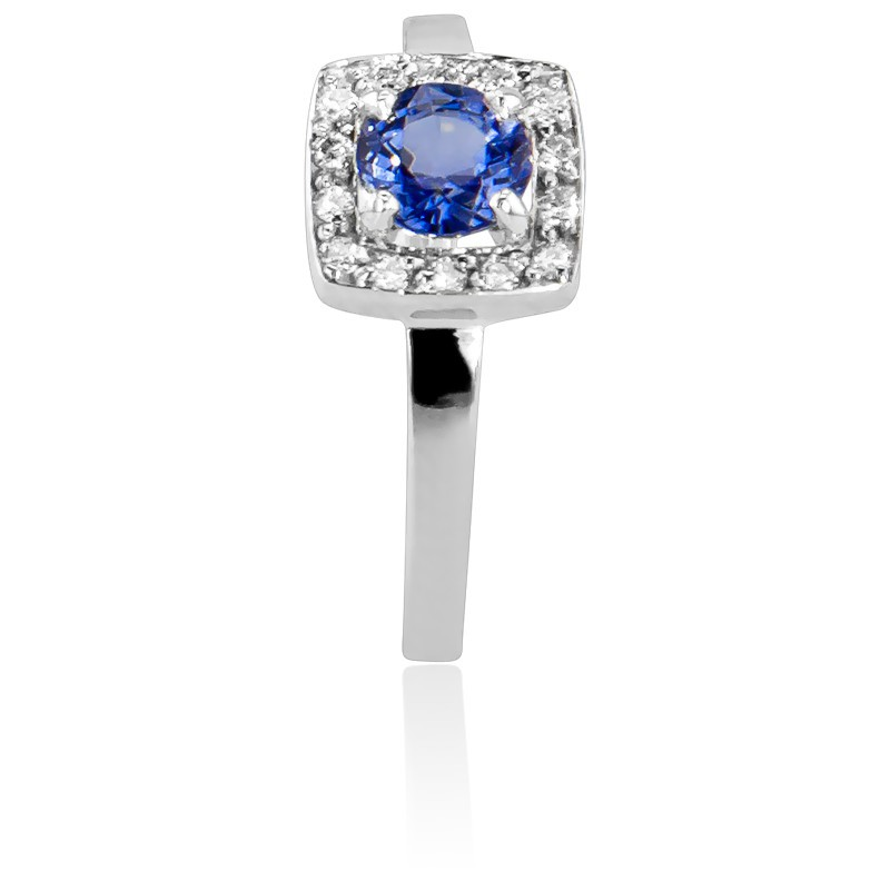 df70c2712315 Anillo de compromiso Oro Blanco Diamantes y Zafiro - Ocarat