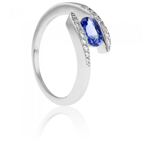 3795433e87a9 Anillo Compromiso de Oro Blanco diamantes y zafiro - Bellón - Ocarat
