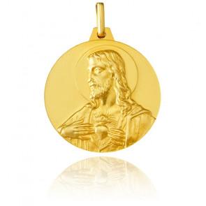 Escapulario Cristo y Virgen con el Niño Jesús Oro Amarillo