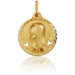 Medalla Redonda Virgen con Velo Facetada Oro Amarillo