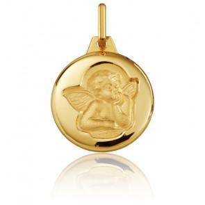 Medalla Redonda Ángel Rafael Oro Amarillo Cepillado