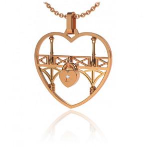 Collar Lock & Love Corazón Oro Rosa Puente de Los Enamorados