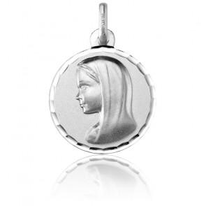 Medalla Redonda Virgen Contorno Facetado Oro Blanco
